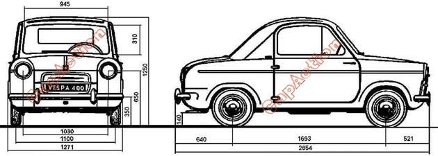 Vespa 400 : dimensions de la Vespa400